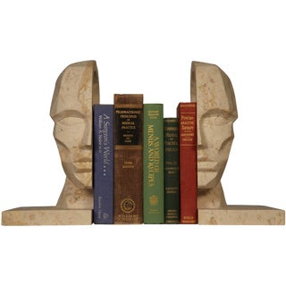 Face Bookend, White Marble For Sale