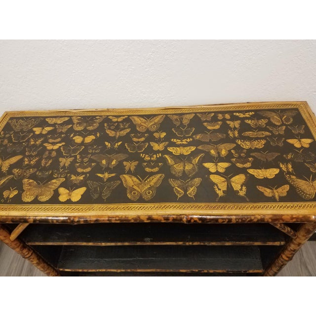 Wood Antique English Bamboo Decoupaged Bookcase With Butterflies For Sale - Image 7 of 13