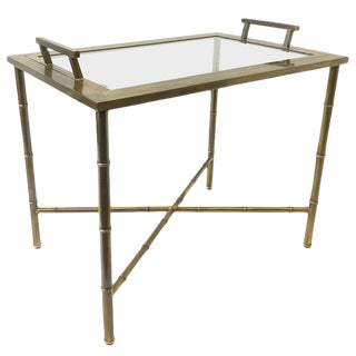 1970s Aged Brass and Glass Faux Bamboo Tray Table by Mastercraft For Sale