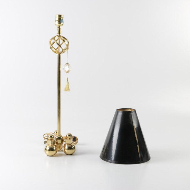 Gold 1990s Art Deco Brass Candlestick Accent Lamp With Black Shade - 2 Pieces For Sale - Image 8 of 8
