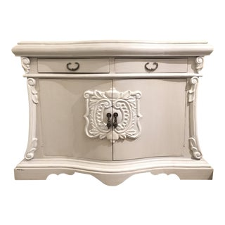 Large Hand Painted Transitional Gray Wood Door Chest For Sale