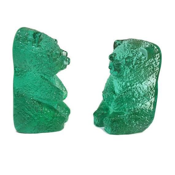 Green Vintage Blenko Glass Mint Green Bear Sculptures/Bookends - a Pair For Sale - Image 8 of 12