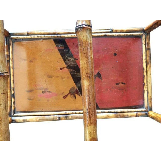1900 - 1909 Restored Large Two-Tier Tiger Bamboo Magazine Rack With Divider For Sale - Image 5 of 7