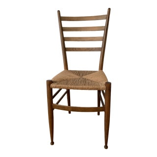 Mid-Century Modern Rush Seat Ladder Back Chair For Sale