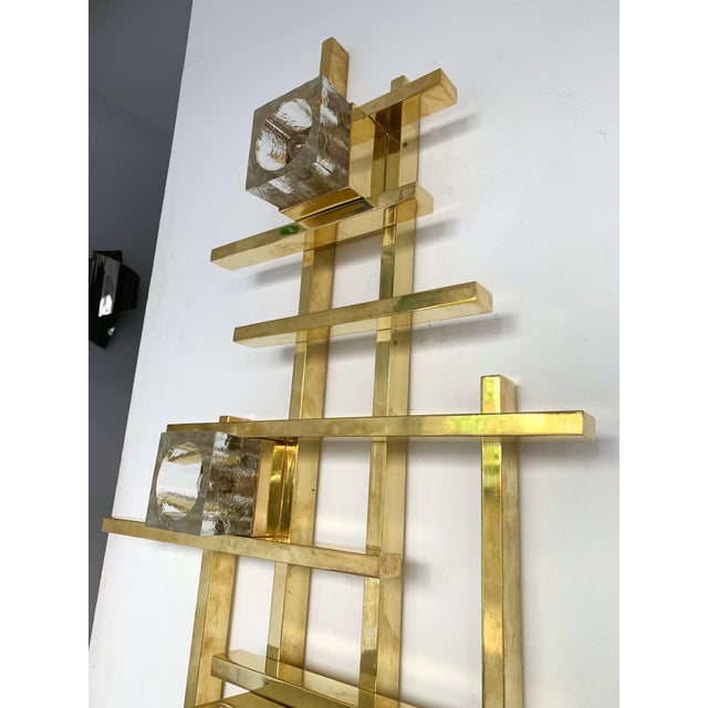 Gaetano Sciolari Contemporary Brass Murano Glass Cubic Sconces. Italy For Sale - Image 4 of 11