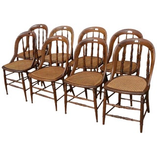 Dining Room Chairs With Caned Seats. Victorian Windsor Bow Back Style. Set of 8. For Sale