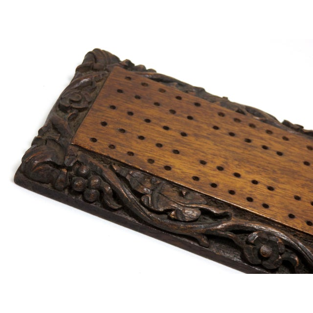 A beautiful Large Size Antique Cribbage Game board. American in origin. It is completely Hand Made - hand Carved out of...