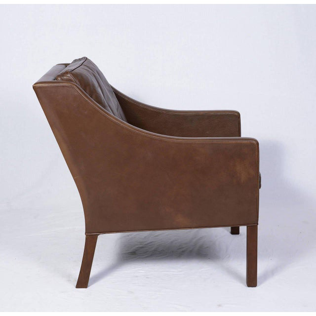 Pair of Borge Mogensen Model #2207 Leather Lounge Chairs - Image 6 of 9