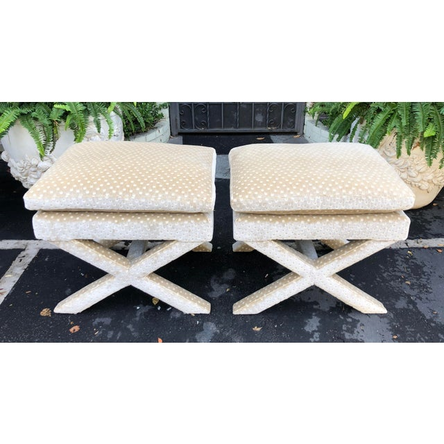 Pair of Nancy Corzine Silk Velvet Designer X Bench Ottomans For Sale In Los Angeles - Image 6 of 6