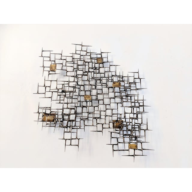 Gray Bronze Brass Brutalist Nail Wall Sculpture For Sale - Image 8 of 12