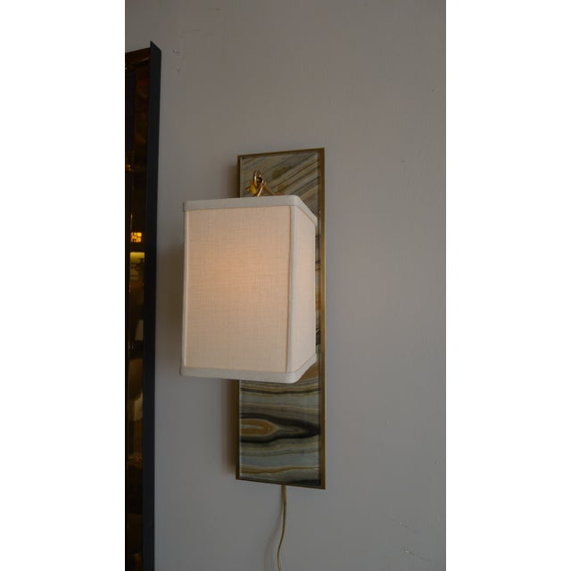 Modern Brass and Marbleized Wall Sconce V2 by Paul Marra - Image 5 of 8