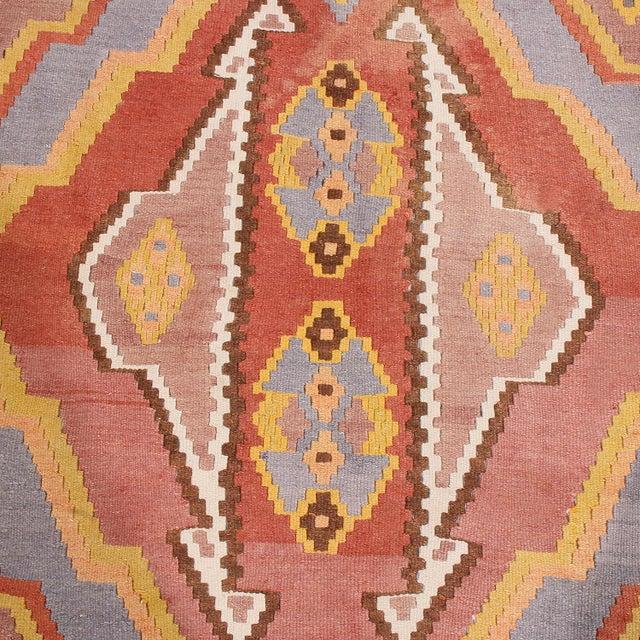 "Rug & Kilim 1930s Vintage Mid-Century Geometric Pink and Yellow Wool Kilim Rug-7'3'x13'10"" For Sale - Image 4 of 8"
