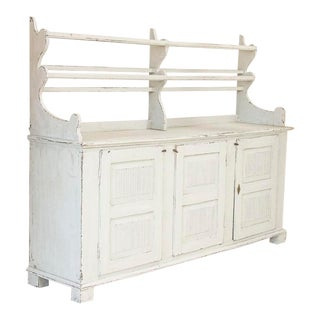 Antique Swedish White Painted Gustavian Buffet Cupboard With Plate Rack For Sale