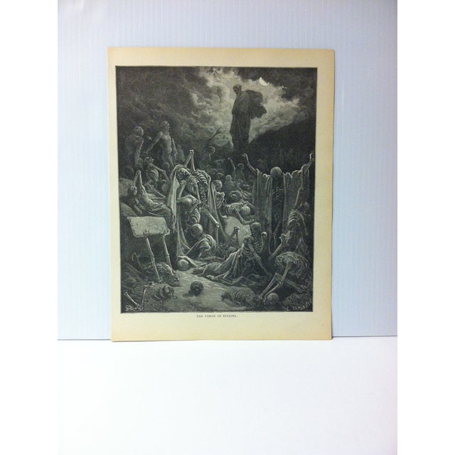 "Antique 1901 Gustave Dore Illustrated Print on Paper ""The Vision of Ezekiel"" For Sale - Image 4 of 4"