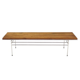 Solid Oiled Slat Wood Top Chrome Bench For Sale