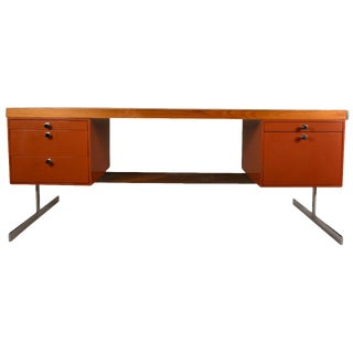 Metal and Wood Large Flat Top Desk For Sale