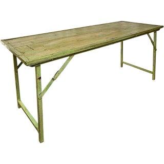 Green Vintage Wood W/Heavy Duty Steel Frame Folding Table For Sale