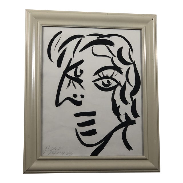 """1960's """"White Face"""" Peter Keil Painting For Sale"""