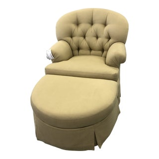 1990s Vintage Tufted Swivel Chair & Ottoman on Casters For Sale