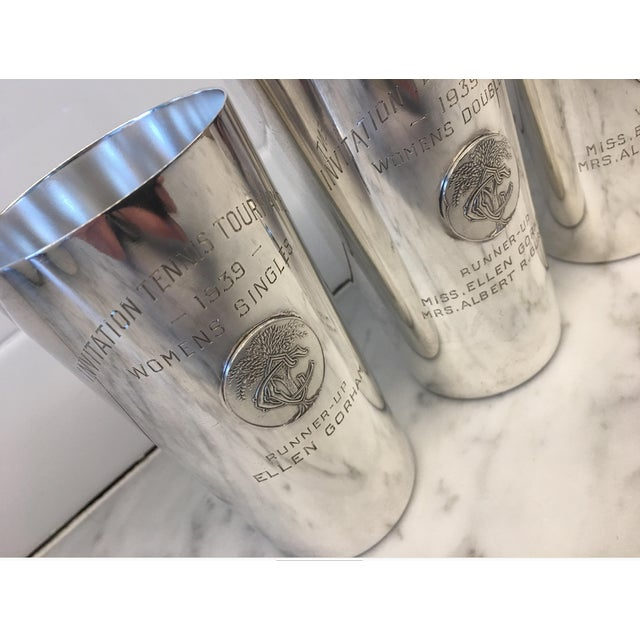Americana 1930's Country Club Tennis Trophy Sterling Julep Cups - Set of 4 For Sale - Image 3 of 8