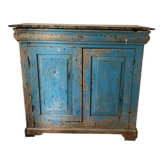 1900s Rustic Style Blue Sideboard Cabinet For Sale