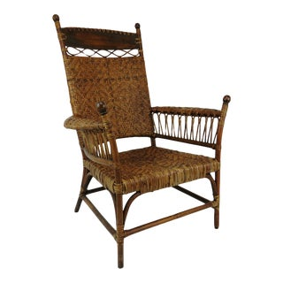 Antique Old Hickory Style Victorian Sculptural Stick and Ball Bentwood and Cane Lounge Chair For Sale