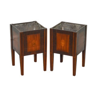 Adams Style Antique Early 19th Century Inlaid Planters - a Pair
