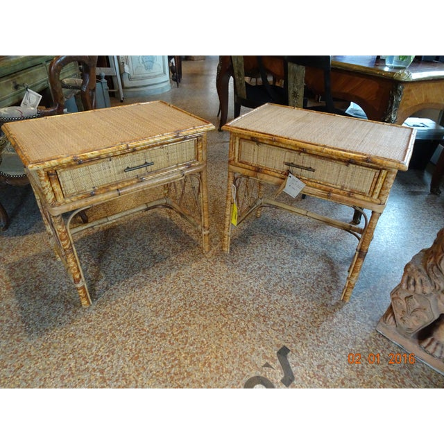 Pair of Vintage French Bamboo Tables For Sale - Image 9 of 10