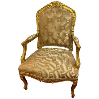 Louis XV Style Giltwood Arm Bergère Chair For Sale