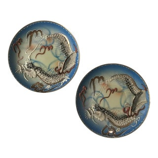 Mid-Century Japanese Moriage Dragonware Plates - a Pair For Sale