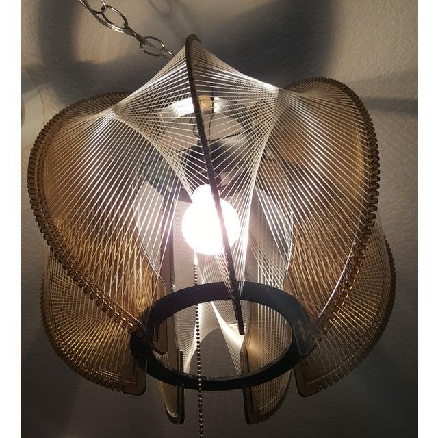 Vintage 60's Lucite String Swag Light For Sale - Image 11 of 12