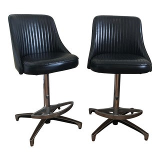 Vintage Mid Century Counter Height Stools- A Pair For Sale