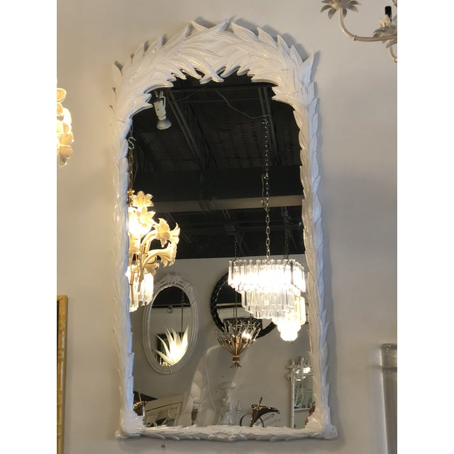 Hollywood Regency Vintage Hollywood Regency White Lacquered Leaf Wall Mirror For Sale - Image 3 of 11