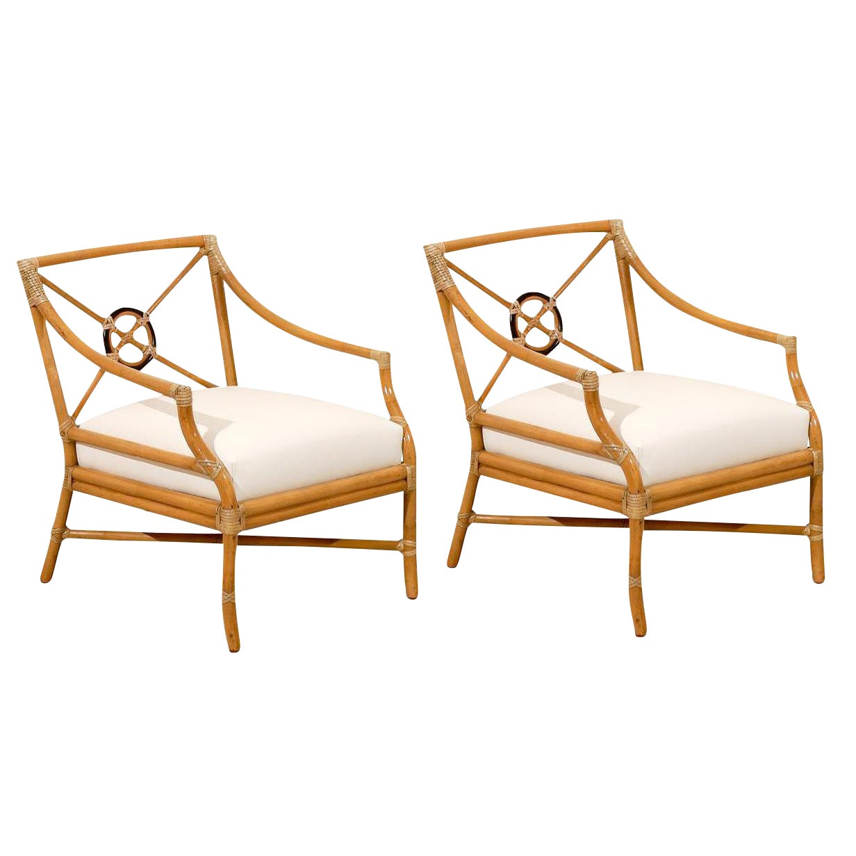 Luxury Beautiful Pair Of Vintage Bamboo Target Back Lounge Chairs By Mcguire Decaso