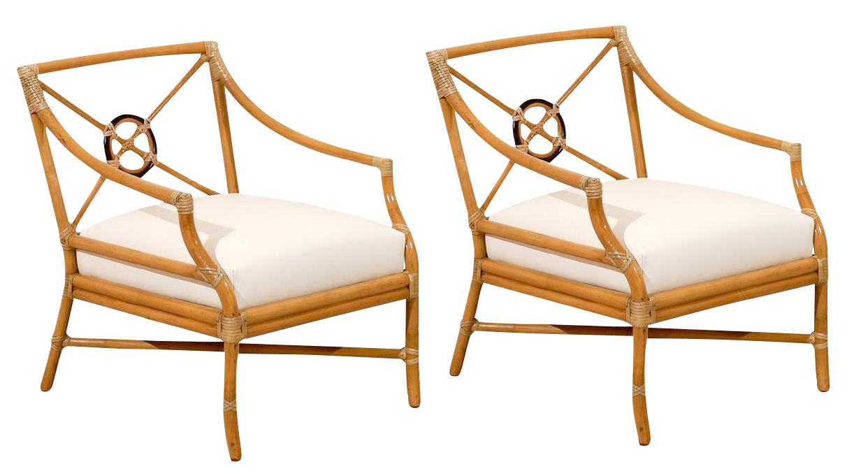 Beautiful Pair Of Vintage Bamboo Target Back Lounge Chairs By McGuire    Image 1 Of 10