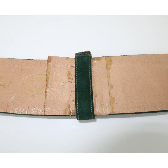 Green 1970's Judith Leiber Gold Filigree Mughal Style Emerald Green Belt For Sale - Image 8 of 11