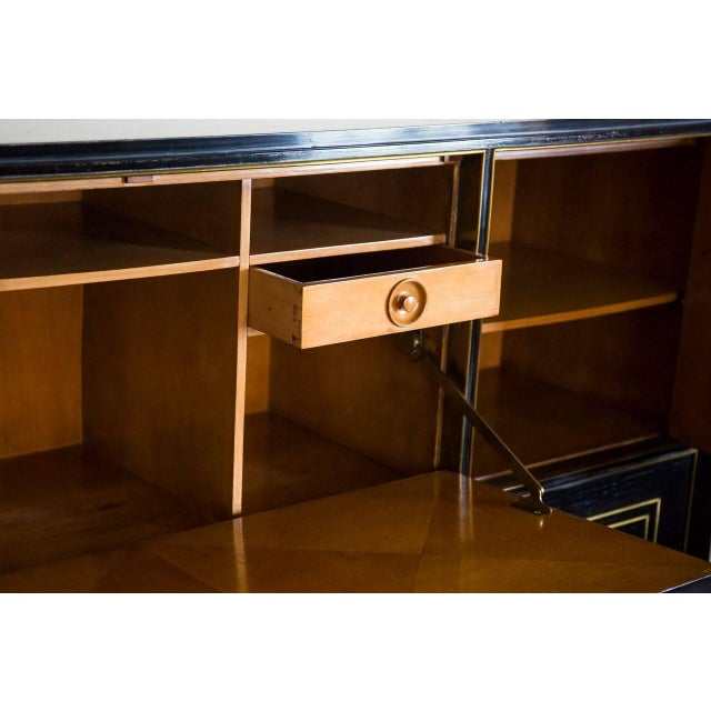 Modern Italian Ebonized Bronze-Inlaid Cabinet on Tapered For Sale - Image 3 of 4