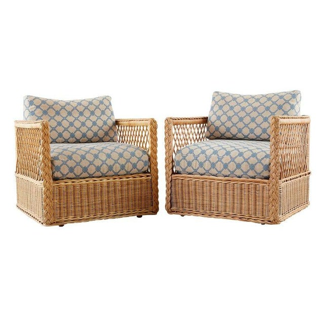 Pair of McGuire Rattan Wicker Lounge Chairs With Ottoman For Sale - Image 13 of 13