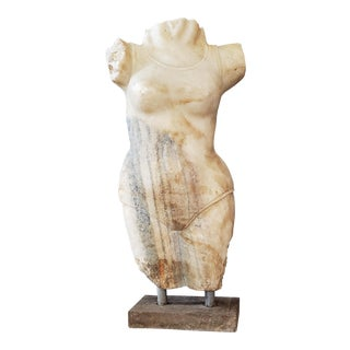 Vintage Art Deco Neoclassical Marble Nude Woman Stone Body Female Torso Sculpture For Sale