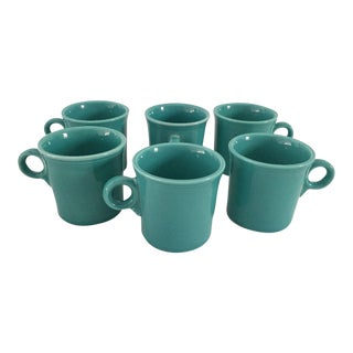 Fiesta Turquoise Coffee Mugs - Set of 6