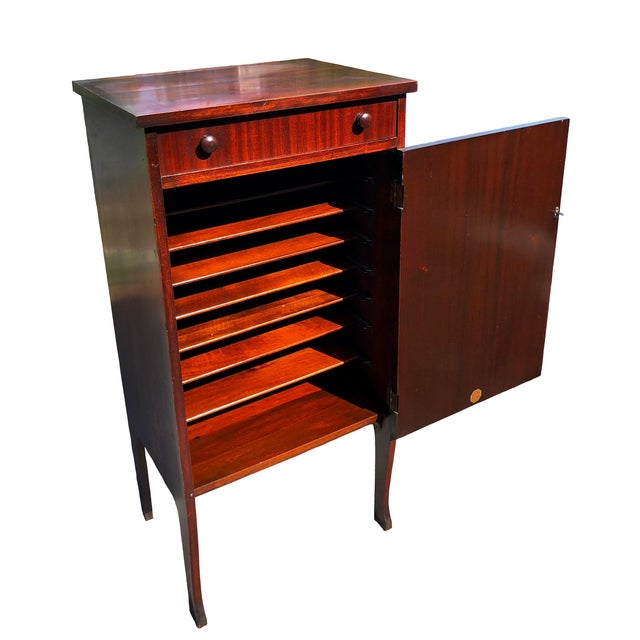 Antique Mahogany Empire Sheet Music Vinyl Record Cabinet by Udell Works For Sale - Image 12 of 12