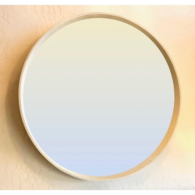 Round Faux Shagreen Mirror in Cream For Sale In San Francisco - Image 6 of 6