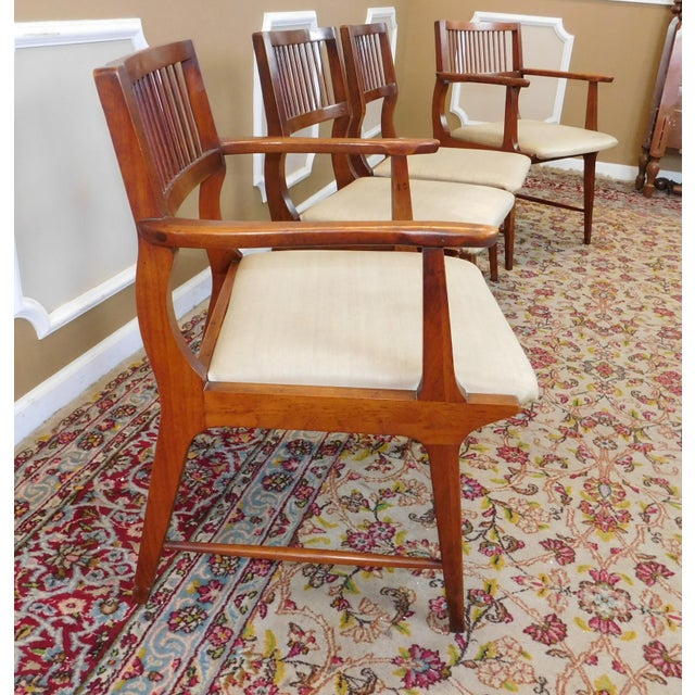 Vintage Lane Furniture Walnut Dining Chairs - Set of 4 - Image 5 of 11