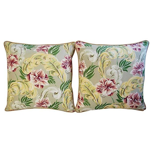 """23"""" Custom Tailored Tropical Floral Barkcloth Feather/Down Pillows - Pair - Image 6 of 7"""