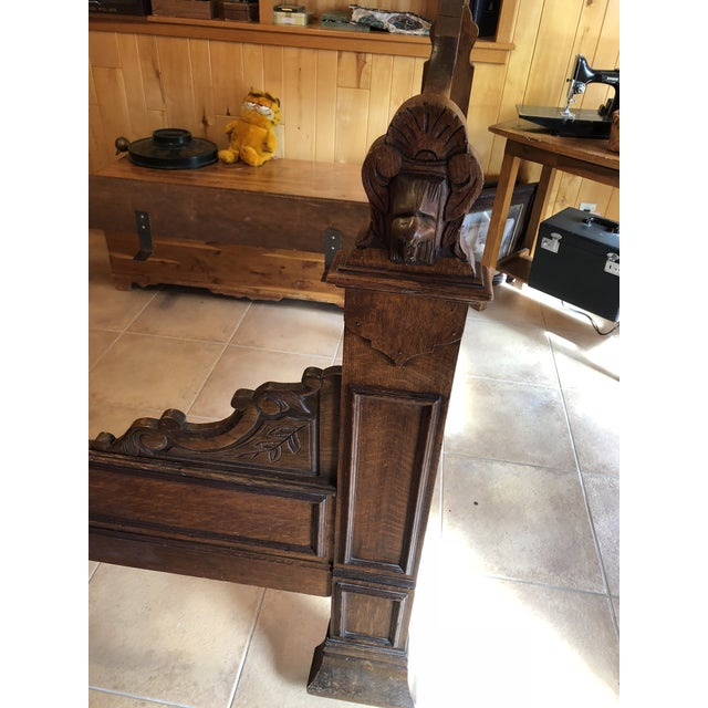 1800s Antique French Medieval Knights Heads Carved Daybed For Sale - Image 6 of 11