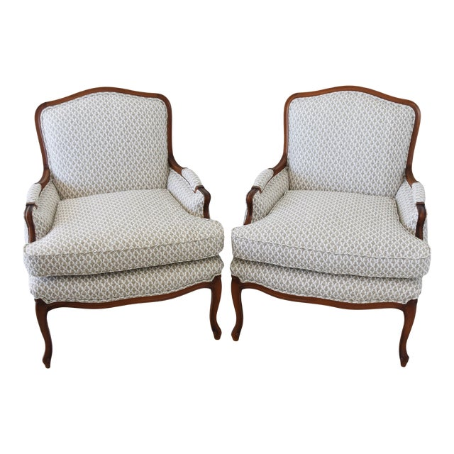 Vintage French-Style Newly Upholstered Bergere Chairs - Pair For Sale