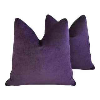 "24"" Custom Tailored Ultra Violet Purple Velvet Feather & Down Pillows - a Pair"