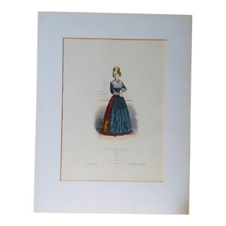 """19th Century C.1880 French Original Engraving Historic Fashion Plate, Hand-Tinted - """"Demoiselle D'Augsbourg"""" For Sale"""
