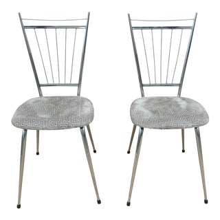 1960s Vintage Gio Ponti Style Chrome Chairs- A Pair For Sale