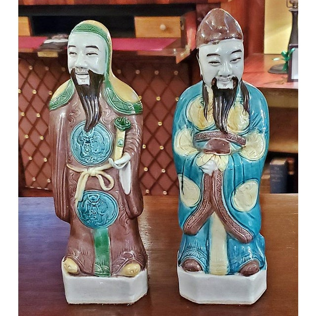 Mid 20th Century Vintage Chinese Ceramic Monks - a Pair For Sale - Image 5 of 12